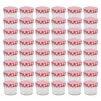 vidaXL Borcane de sticlă pentru gem capace alb și roșu, 48 buc, 110 ml
