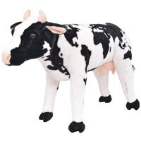 vidaXL Vacă din pluș de jucărie XXL Alb și negru