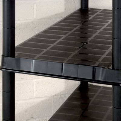 vidaXL Raft de depozitare cu 5 polițe, negru, 85x40x185 cm, plastic