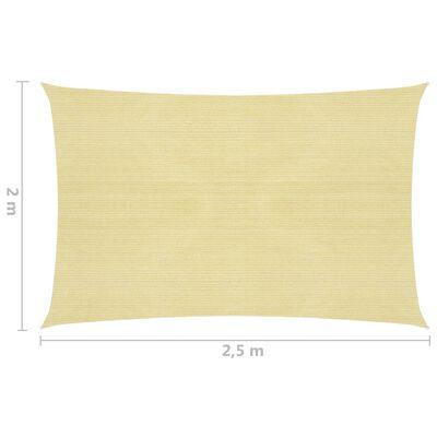 vidaXL Pânză parasolar, bej, 2x2,5 m, HDPE, 160 g/m²