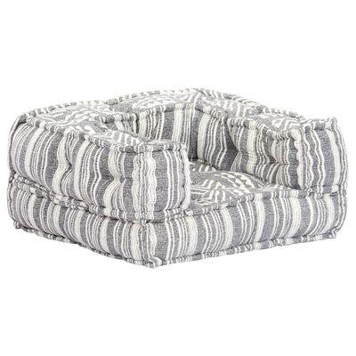 vidaXL Fotoliu puf, gri cu dungi, material textil