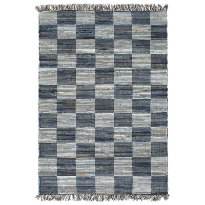 vidaXL Covor Chindi țesut manual, albastru, 120x170 cm, denim
