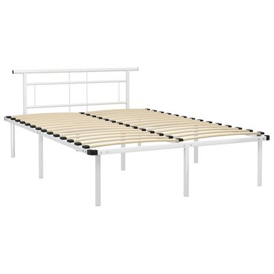 vidaXL Cadru de pat, alb, 140 x 200 cm, metal