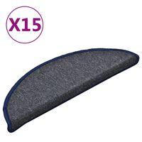 vidaXL Covorașe pentru trepte scară, 15 buc., gri/albastru, 56x17x3 cm