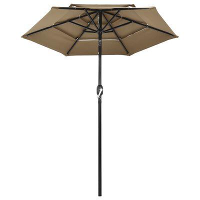 vidaXL Umbrelă de soare 3 niveluri, stâlp aluminiu, gri taupe, 2 m