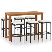 vidaXL Set mobilier bar de grădină cu perne, 9 piese, negru