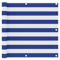 vidaXL Paravan de balcon, alb și albastru, 90x300 cm, țesătură oxford