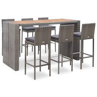 vidaXL Set mobilier de exterior cu perne, 7 piese, gri, poliratan