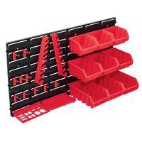 vidaXL Set cutii depozitare 34 piese cu panouri de perete, roșu&negru