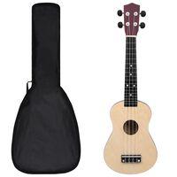"""vidaXL Set ukulele Soprano pentru copii, cu husă, lemn deschis, 23"""""""