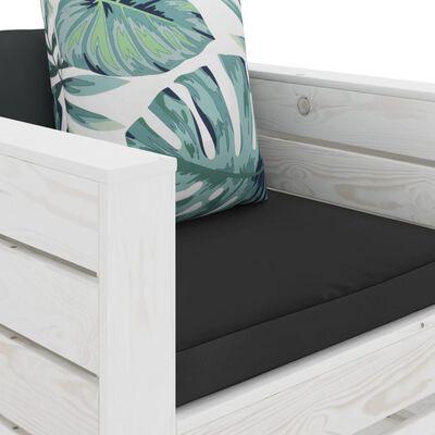 vidaXL Set mobilier grădină din paleți, perne înflorate, 2 piese, lemn