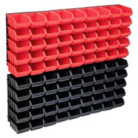 vidaXL Set cutii depozitare 96 piese cu panouri de perete, roșu&negru