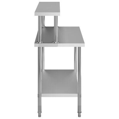 vidaXL Masă lucru bucătărie cu raft 120 x 60 x 120 cm oțel inoxidabil