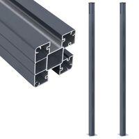 vidaXL Stâlpi de gard, 2 buc., gri închis, 185 cm, aluminiu