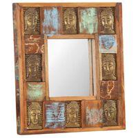 vidaXL Oglindă placare Buddha, 50 x 50 cm, lemn masiv reciclat