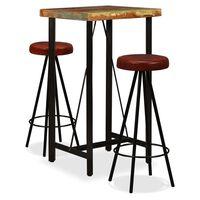 vidaXL Set mobilier bar, 5 piese lemn masiv reciclat și piele naturală