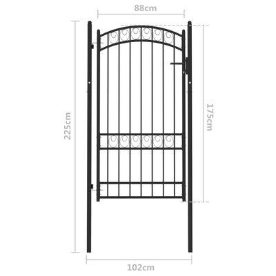 vidaXL Poartă de gard cu arcadă, negru, 100x175 cm, oțel
