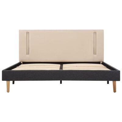 vidaXL Cadru pat cu LED-uri, crem și gri închis, 140x200 cm, textil