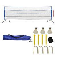 vidaXL Set fileu de badminton, cu fluturași, 500x155 cm