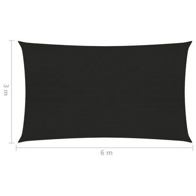 vidaXL Pânză parasolar, negru, 3x6 m, HDPE, 160 g/m²