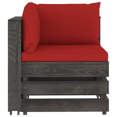 vidaXL Set mobilier de grădină cu perne, 4 piese, gri, lemn tratat