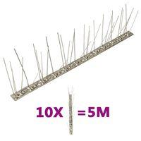 vidaXL Set bandă cu țepi antipăsări cu 5 rânduri, 10 buc., oțel, 5 m
