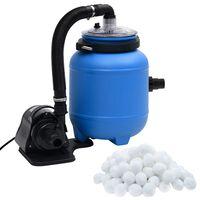 vidaXL Pompă de filtrare pentru piscină, negru și albastru, 4 m³/h