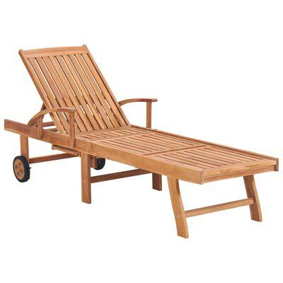 vidaXL Șezlonguri cu pernă antracit, 2 buc, lemn masiv de tec
