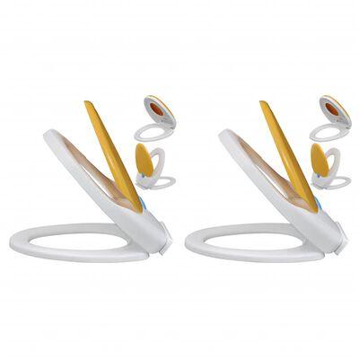 vidaXL Capace WC închidere silențioasă, 2 buc., alb & galben, plastic