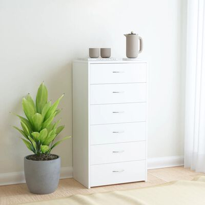 vidaXL Servantă cu 6 sertare, alb, 50 x 34 x 96 cm, PAL