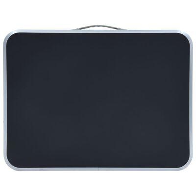 vidaXL Masă de camping pliabilă, gri, 60 x 45 cm, aluminiu