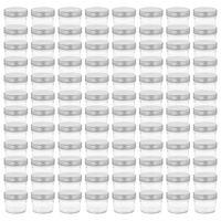 vidaXL Borcane din sticlă pentru gem, capace argintii, 96 buc, 110 ml