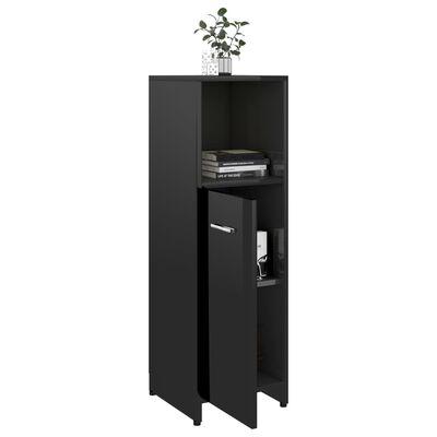 vidaXL Dulap de baie, negru extralucios, 30 x 30 x 95 cm, PAL