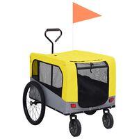 vidaXL Remorcă bicicletă & cărucior 2-în-1 animale, galben și gri
