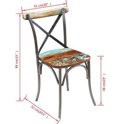 vidaXL Scaune de bucătărie, 2 buc., lemn masiv reciclat