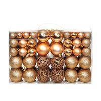vidaXL Set globuri de Crăciun 100 de piese, 6 cm, trandafiriu/auriu