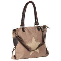 vidaXL Geantă cumpărături, maro, 41 x 63 cm, pânză și piele naturală