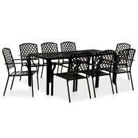 vidaXL Set mobilier de exterior, 9 piese, negru, oțel