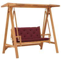 vidaXL Bancă balansoar cu pernă roșu vin, 170 cm, lemn masiv tec
