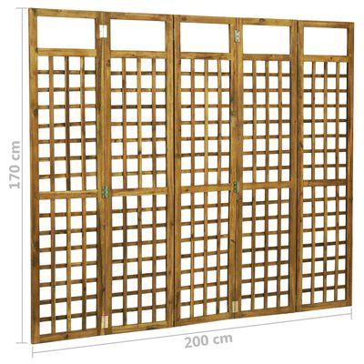 vidaXL Separator cameră/spalier cu 5 panouri, lemn acacia, 200x170 cm