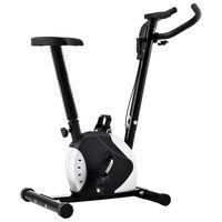 vidaXL Bicicletă de fitness cu centură de rezistență, negru