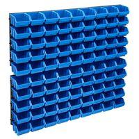 vidaXL Set cutii depozitare, 96 piese, panouri perete, albastru&negru