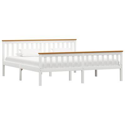 vidaXL Cadru de pat, alb, 180 x 200 cm, lemn masiv de pin