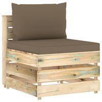 vidaXL Canapea de mijloc modulară cu perne, verde, lemn impregnat