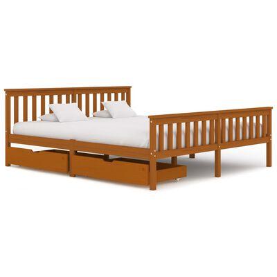 vidaXL Cadru de pat cu 2 sertare, maro miere 180x200 cm lemn masiv pin