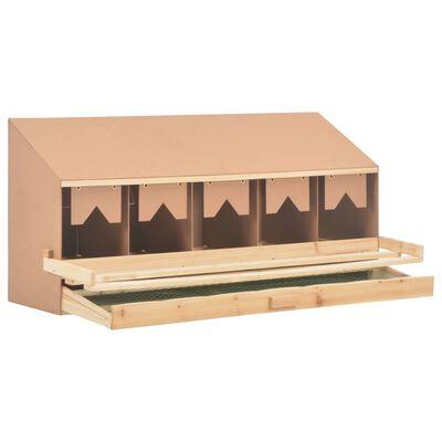vidaXL Cuibar găini cu 5 compartimente 117x33x54 cm lemn masiv pin