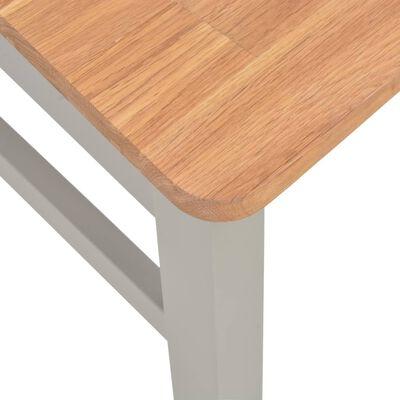 vidaXL Scaune de bucătărie, 2 buc., gri, lemn masiv de stejar