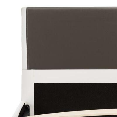 vidaXL Pat cu saltea,  gri și alb, 90 x 200 cm, piele ecologică