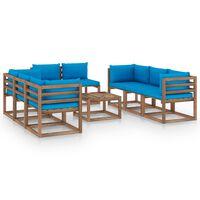 vidaXL Set mobilier de grădină cu perne albastru deschis, 9 piese