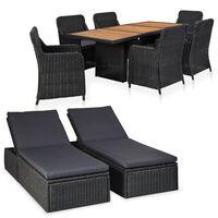 vidaXL Set mobilier de exterior, 9 piese, negru, poliratan